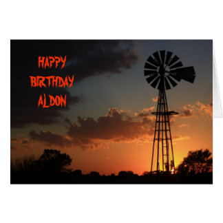 GOLDEN WINDMILL SILHOUETTE BIRTHDAY Card