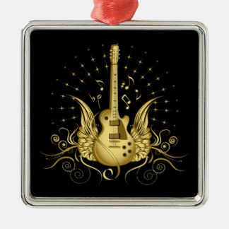 Golden Winged Guitar Christmas Ornament