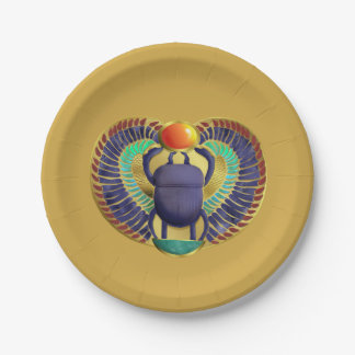 Golden Winged Scarab 7 Inch Paper Plate