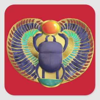 Golden Winged Scarab Square Sticker