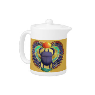 Golden Winged Scarab Teapot