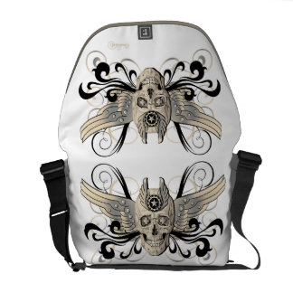 Golden Winged Skull #1b Messenger Bags