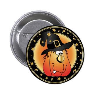 Golden Witch Halloween Pumpkin Design 6 Cm Round Badge