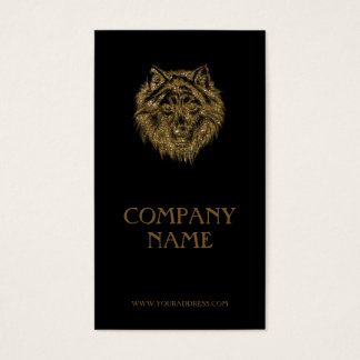 Golden Wolf Portrait Luxurious Black Business Card