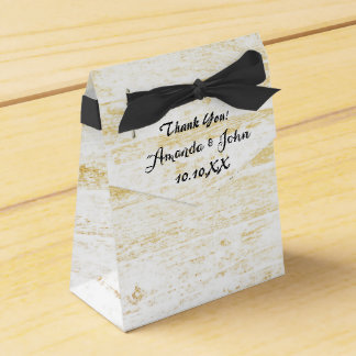 Golden Wood White Black Wedding Favor Thank You Wedding Favour Box
