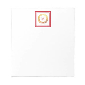 Golden Wreath Christmas Monogram Notepad