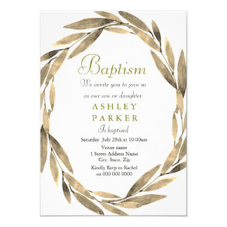 Golden Wreath Gold Leaf Boy Girl Baptism Invite