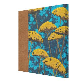 Golden Yarrow Garden with Blue Background Canvas Print