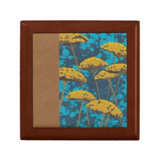 Golden Yarrow Garden with Blue Background Gift Box