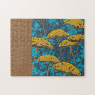 Golden Yarrow Garden with Blue Background Jigsaw Puzzle