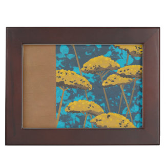 Golden Yarrow Garden with Blue Background Keepsake Box