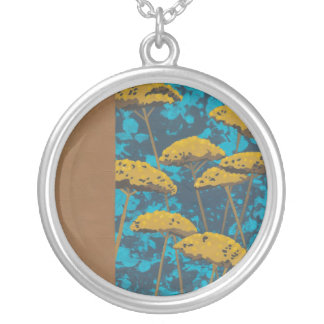 Golden Yarrow Garden with Blue Background Silver Plated Necklace