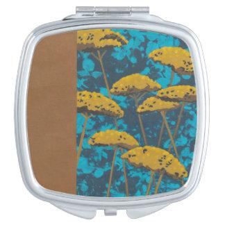 Golden Yarrow Garden with Blue Background Travel Mirrors