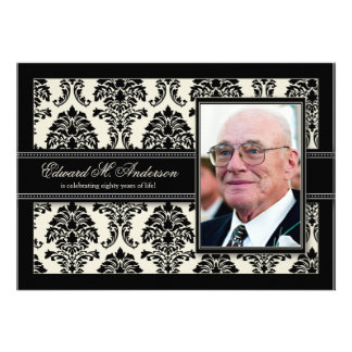Golden Years Damask Birthday Party Invite black