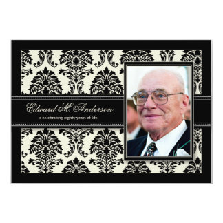 "Golden Years Damask Birthday Party Invite (black) 5"" X 7"" Invitation Card"