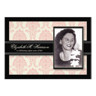 Golden Years Damask Birthday Party Invite pink