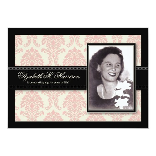 Golden Years Damask Birthday Party Invite (pink) 13 Cm X 18 Cm Invitation Card