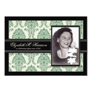 "Golden Years Damask Birthday Party Invite (sage) 5"" X 7"" Invitation Card"