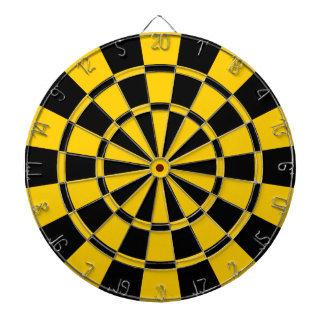Golden Yellow And Black Dartboard With Darts