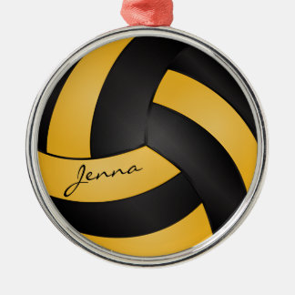 Golden Yellow and Black Personalize Volleyball Silver-Colored Round Decoration