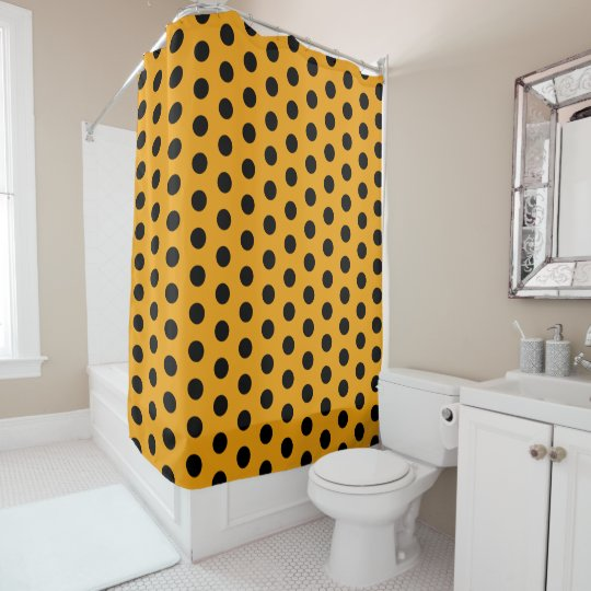 Golden Yellow And Black Polka Dot Shower Curtain
