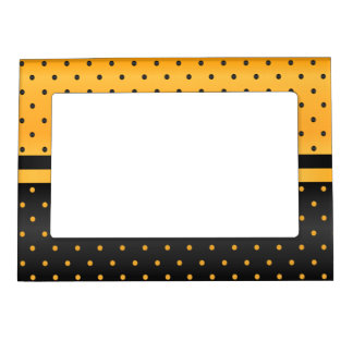 Golden Yellow and Black Polka Dots Magnetic Frame