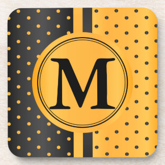 Golden Yellow and Black Polka Dots - Monogram Coaster