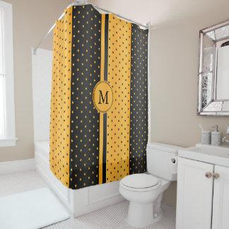 Golden Yellow and Black Polka Dots - Monogram Shower Curtain