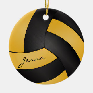 Golden Yellow and Black Volleyball   DIY Name Round Ceramic Decoration