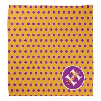 Golden Yellow and Purple Polka Dot Monogram Bandana