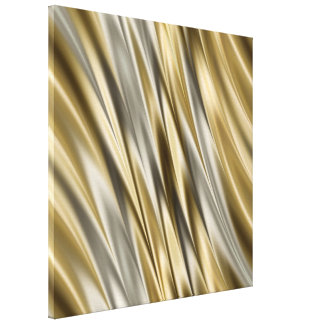 Golden yellow and silver grey stripes gallery wrapped canvas