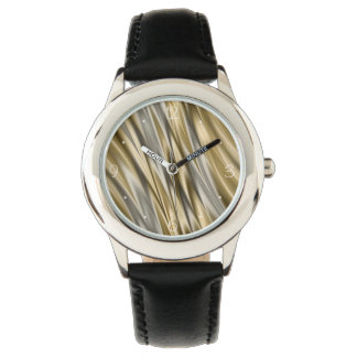 Golden yellow and silver grey stripes wrist watch