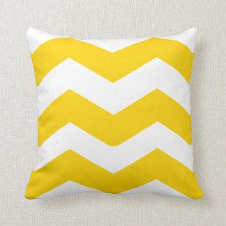 Golden Yellow and White Big Chevron Zigzag Throw Pillow