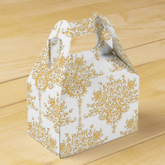 Golden Yellow and White Floral Damask Wedding Favour Boxes