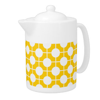 Golden Yellow and White Mod Polka Dot Teapots