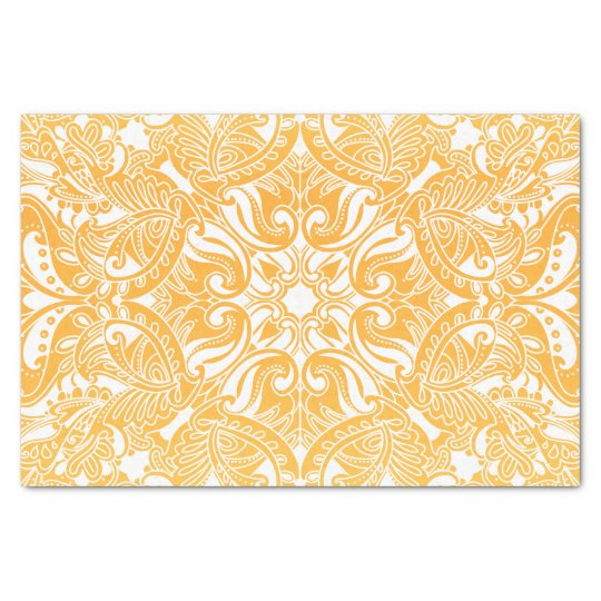Golden Yellow and White Paisley Tissue Paper