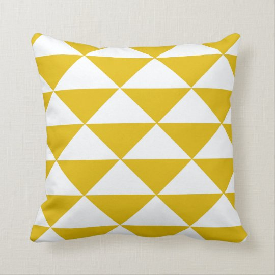 Golden Yellow and White Triangles Cushion