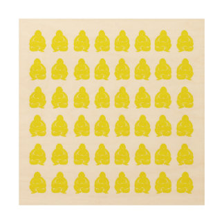 Golden Yellow Asian Moods Buddah Boys Wood Wall Art
