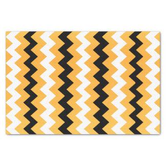 Golden Yellow, Black and White Chevron Tissue Paper