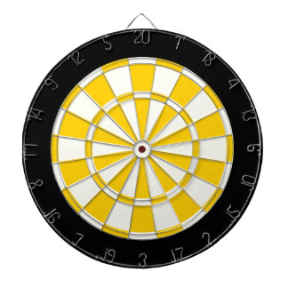 Golden Yellow Black And White Dartboard