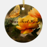 Golden Yellow Butterfly Round Ceramic Decoration