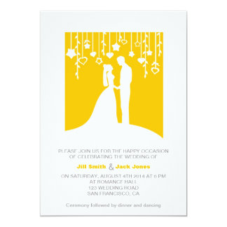 "Golden Yellow Contemporary Wedding Invitation 5"" X 7"" Invitation Card"