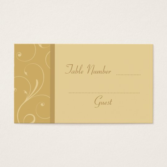 Golden Yellow Custom Wedding Table Place Cards
