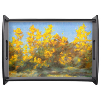 Golden Yellow Fall Trees Serving Tray