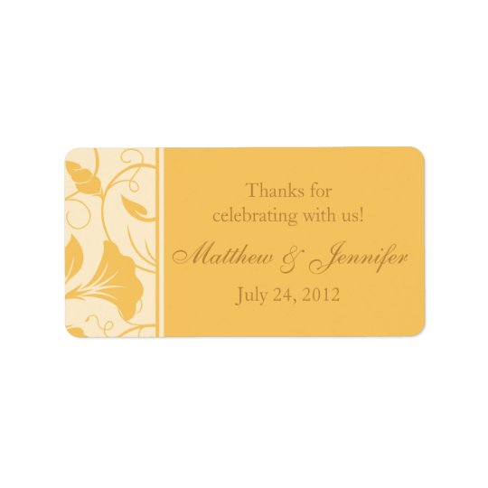 Golden Yellow Floral Thank You Wedding Favour Address Label