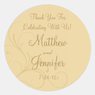 Golden Yellow Flourish Custom Wedding Favor Labels