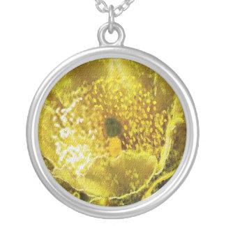 Golden Yellow Flower n Honey Bee Round Pendant Necklace