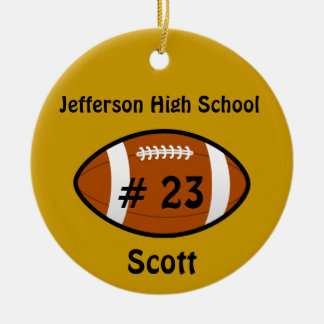 Golden Yellow Football Number Ornament