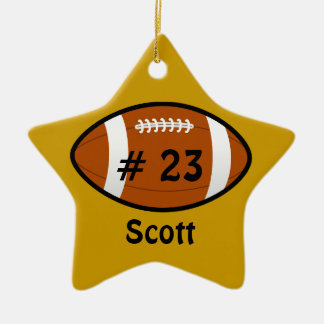 Golden Yellow Football Star Ornament