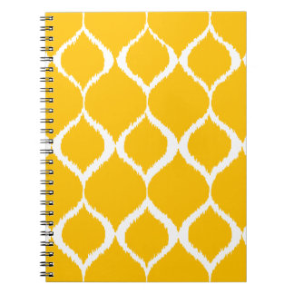 Golden Yellow Geometric Ikat Tribal Print Pattern Notebook